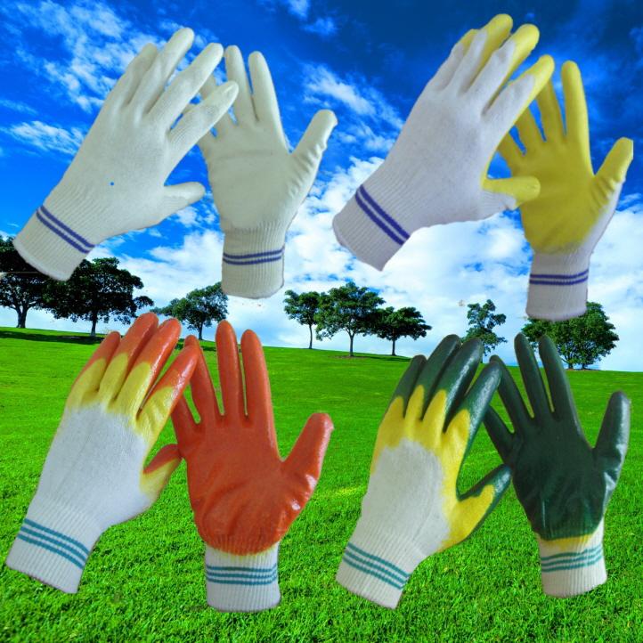 latex half coated glove