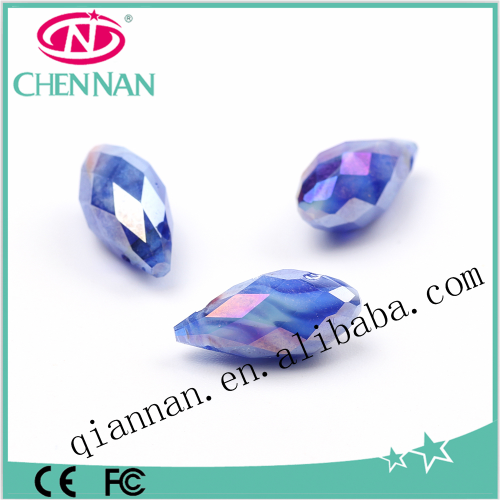 alibaba fashion jewelry accessories drop Crystal glass beads with horizontal hole for jewelr