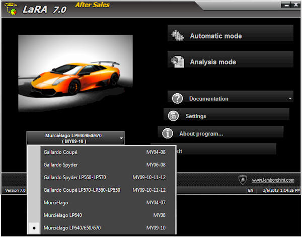 Lamborghini LaRA's Diagnose Software