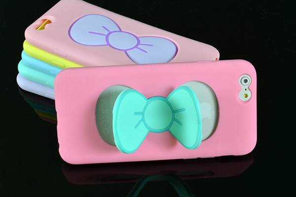 Latest iPhone5 / 6 cute bowknot bracket shell silicone jelly