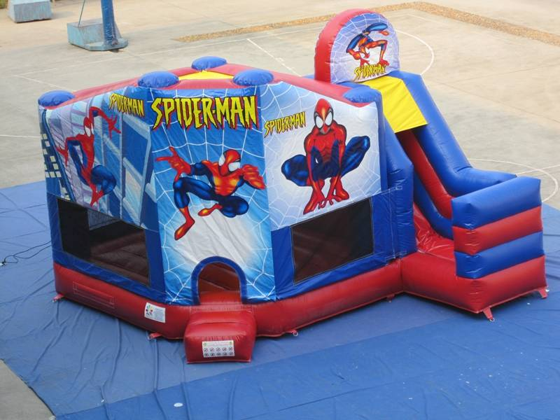 Lanqu spiderman inflatable bouncer house