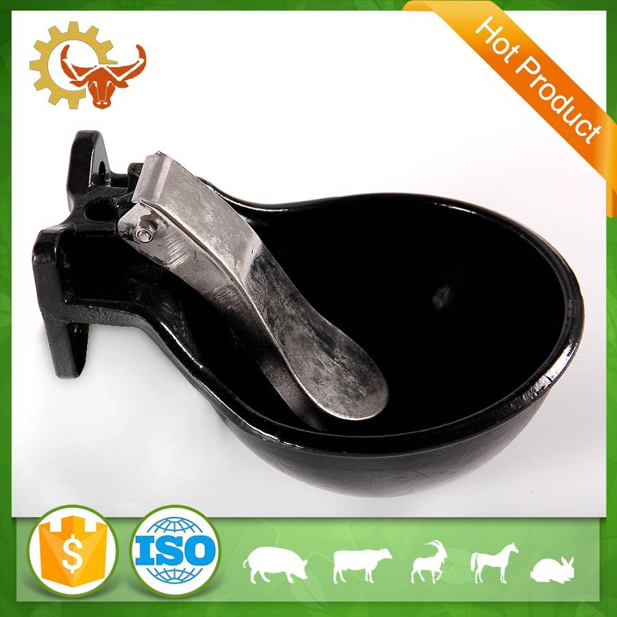Drinking bowl with pressure tongue made of cast iron