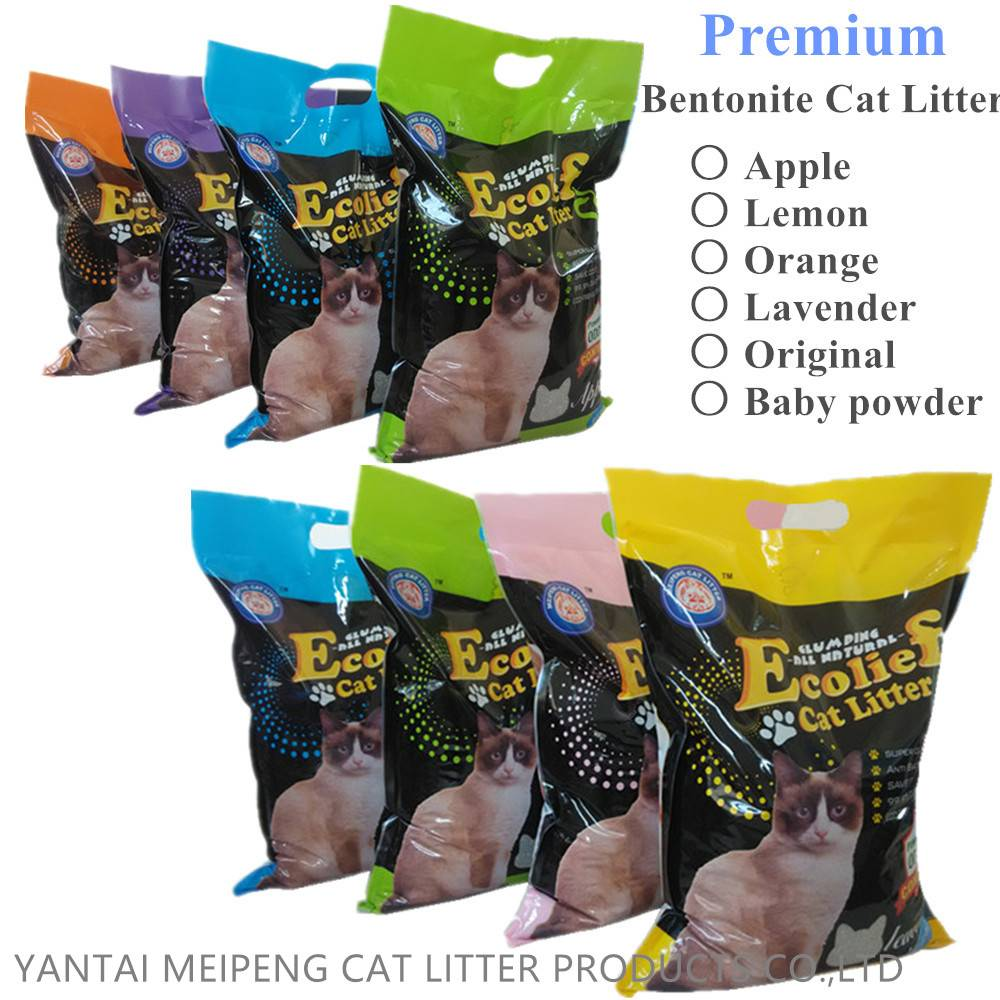 Premium quality clumping kitty sand 100% sodium bentonite cat litter