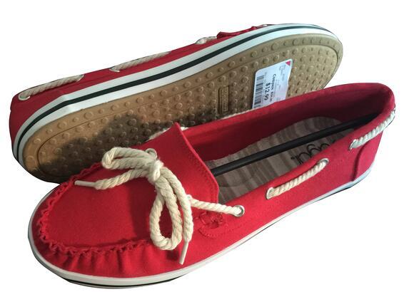Women's Xhilaration Sandi Canvas Boat Red Shoes
