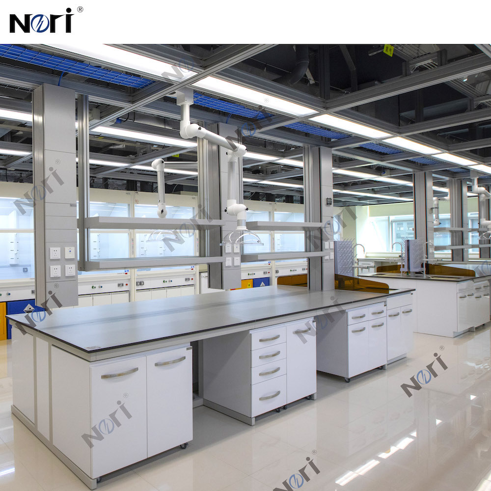 Customised Laboratory Workbench Island Table with Reagent Shelf and Service Column