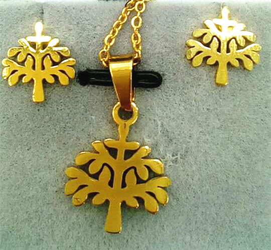 New season popular jewelry Fashion gold plated tree shape jewelry pendant necklace earring for child