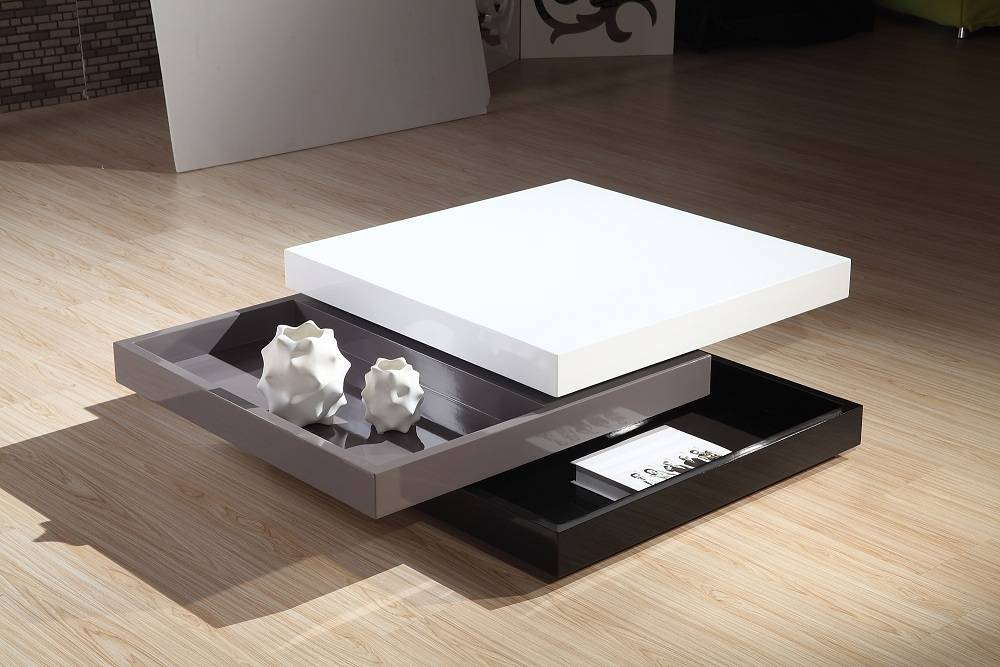 Square modern coffee tables with 3 layer
