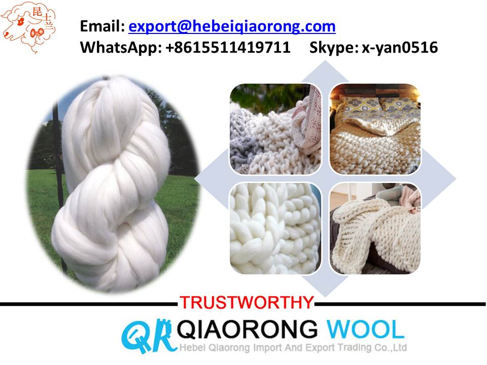 super giant chunky 66s merino wool top roving raw white and dyed