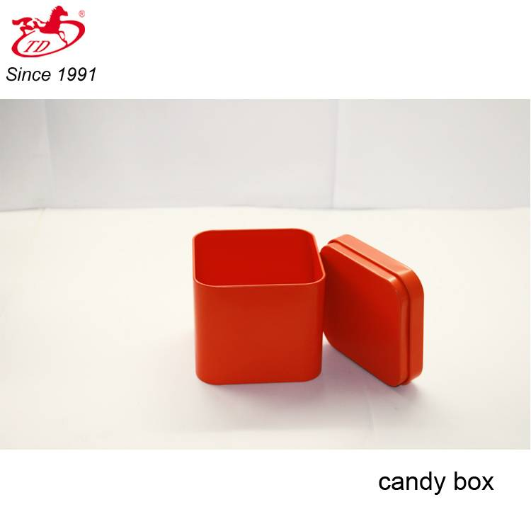 Small red candy/chocolate tin box, card tin cans, soap metal tin for sale