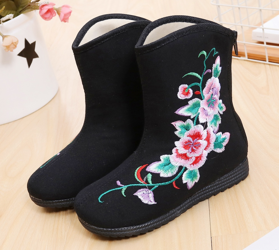 Girl autumn winter old Beijing embroidered shoes ethnic style warm ankle cloth zipper mid-calf li