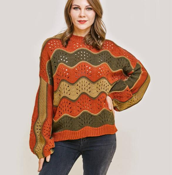 D-6001 Ladies Knitting Sweater [Latest Style Long Sleeve Round Neck Hollow out Sweater Pullover]