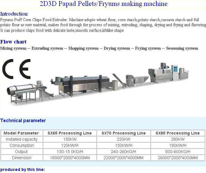 2D/3D Papad Pellets/Fryums Production Line