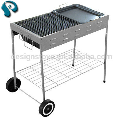 Trolley charcoal bbq grill with wheels made in China