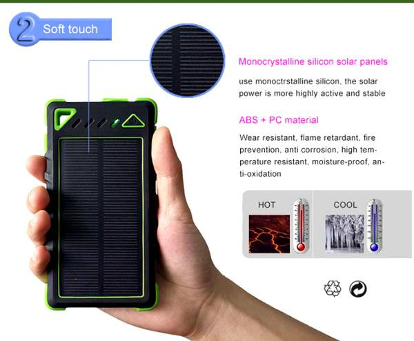 waterproof solar power bank with fc ce rohs for mobile phone