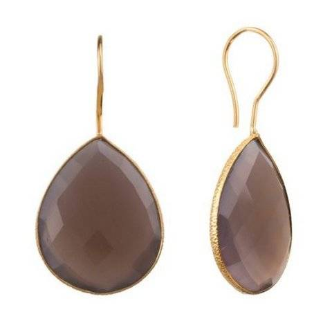 925 sterling silver Grey Chalcedony Gemstone Earring-Vermeil Gold