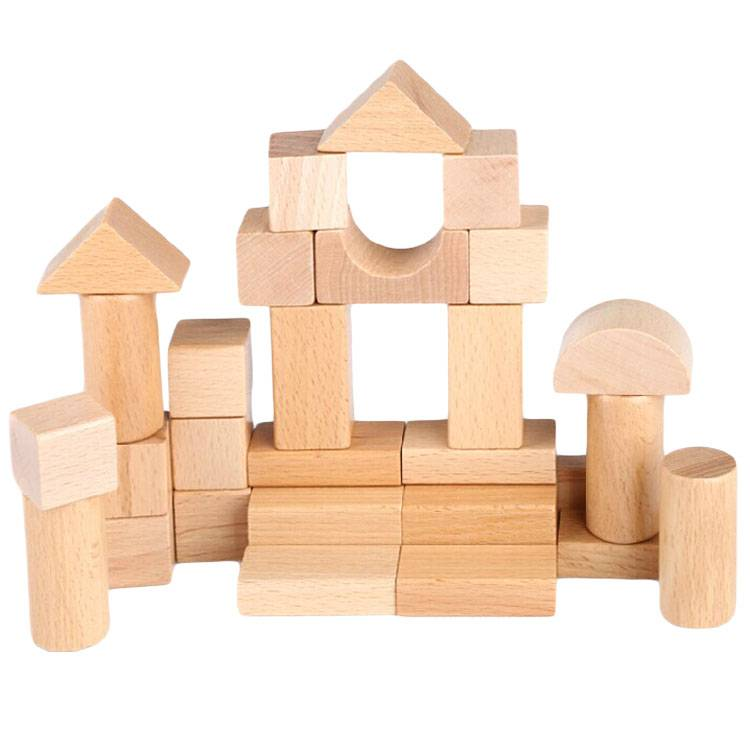 30 Pieces Natural Wooden Building Blocks