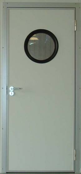 steel fire door with circle vision glass