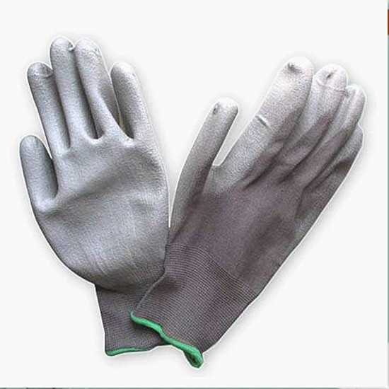 Grey pu coated work gloves with 13 gauge polyester liner