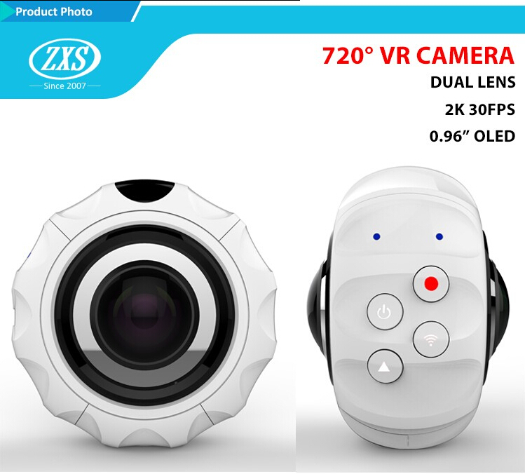 ZXS-X720 Mini Sports Action Camera Dual Lens 360 degree Panoramic VR Camera with wifi action camera