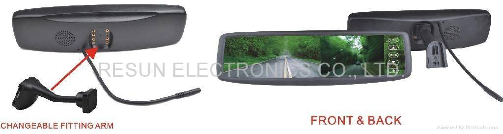 """Car Rearview Mirror with 4.3"""" TFT LCD Monitor Touch button Bluetooth for Toyota,Honda,VW"""