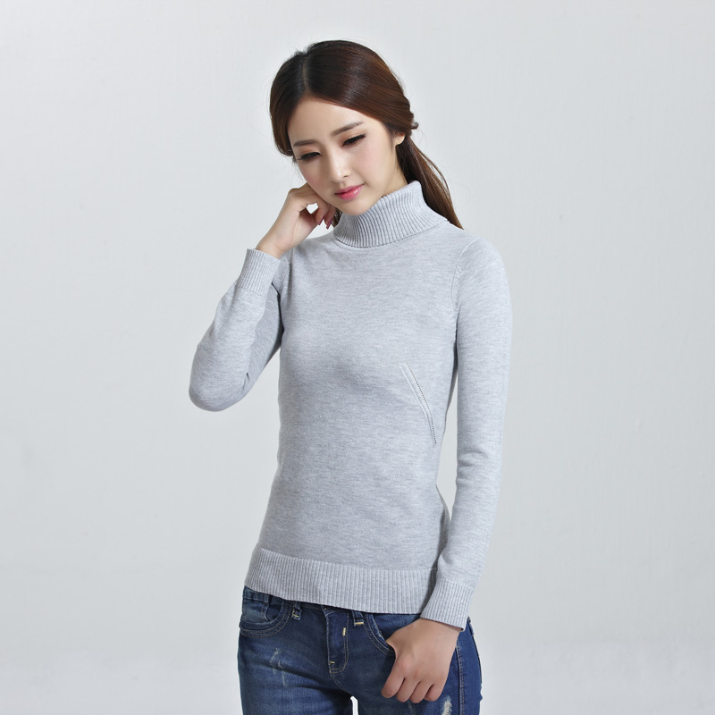 100% Polyester Plain Sweater For Women Turtleneck Knit Pullover Pointelle Deisgin Warm Jumper