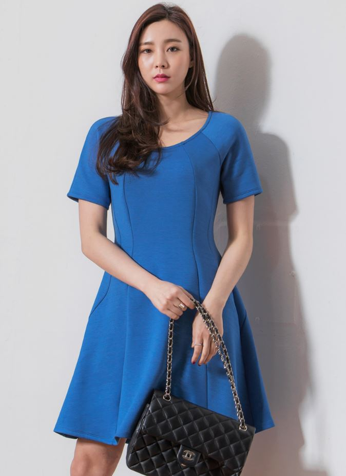 New high quality fashion Korean style Summer women Round flare short sleeve A-line dress