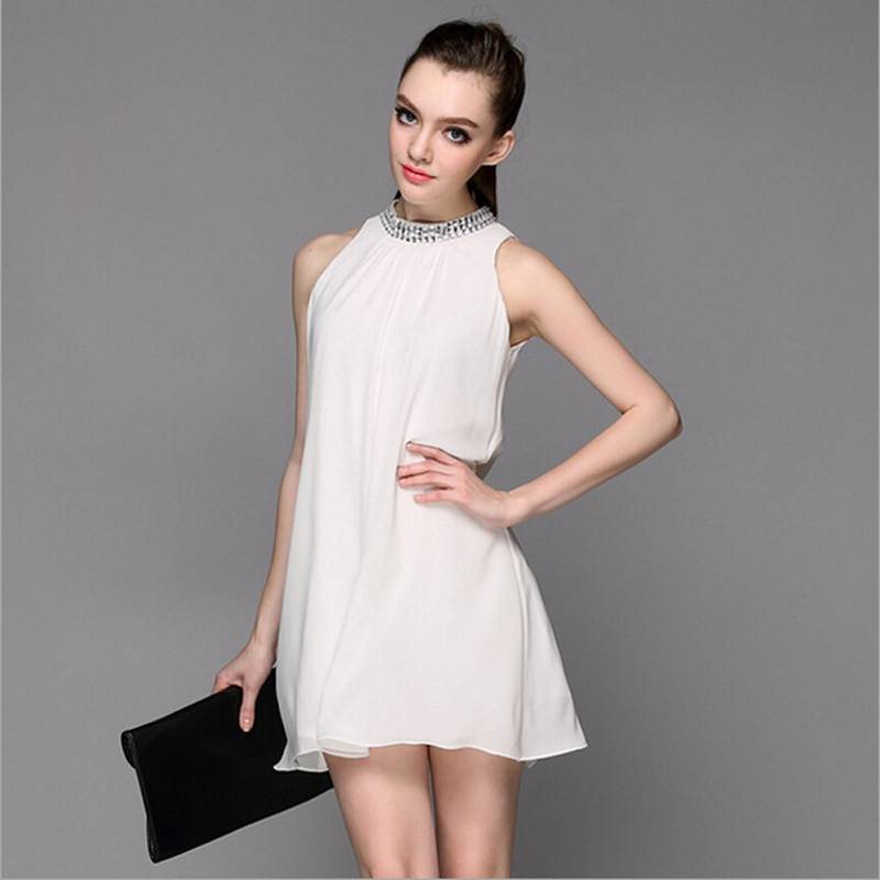 2015 New Type Diamonds Collar Women Dress Loose Comfortable High Quality Noble Dress