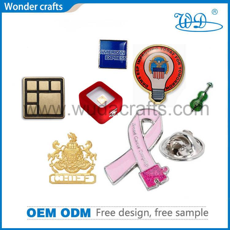 Ribbon pins iron imitational gold metal square paper sticker epoxy badges