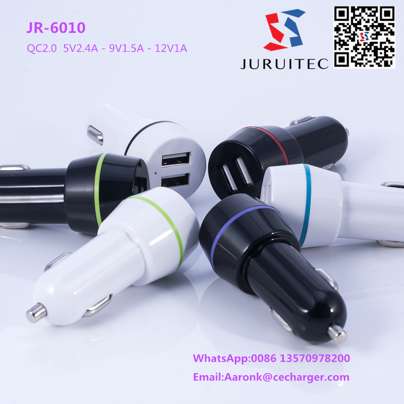 CE,FCC,RoHS approval 5V2.4A 2 ports USB car charger