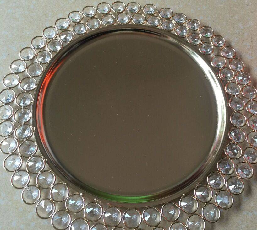 Foshan cheap silver crystal charger plate for wedding tables decor
