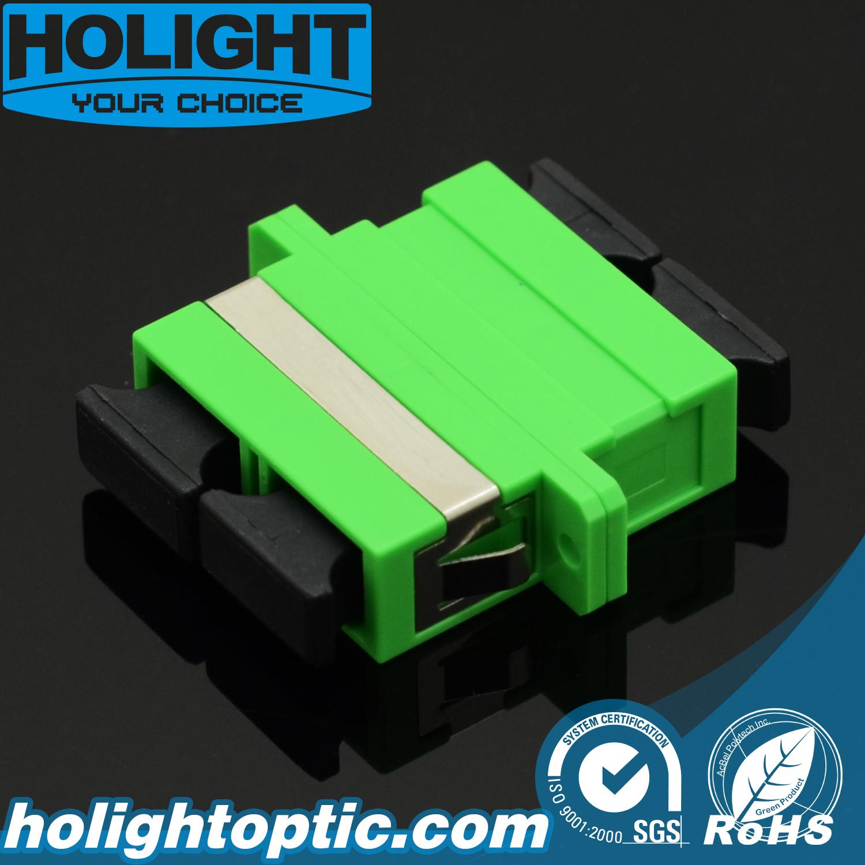 Fiber Adaptor Sc APC Duplex Singlemode Green with Flange