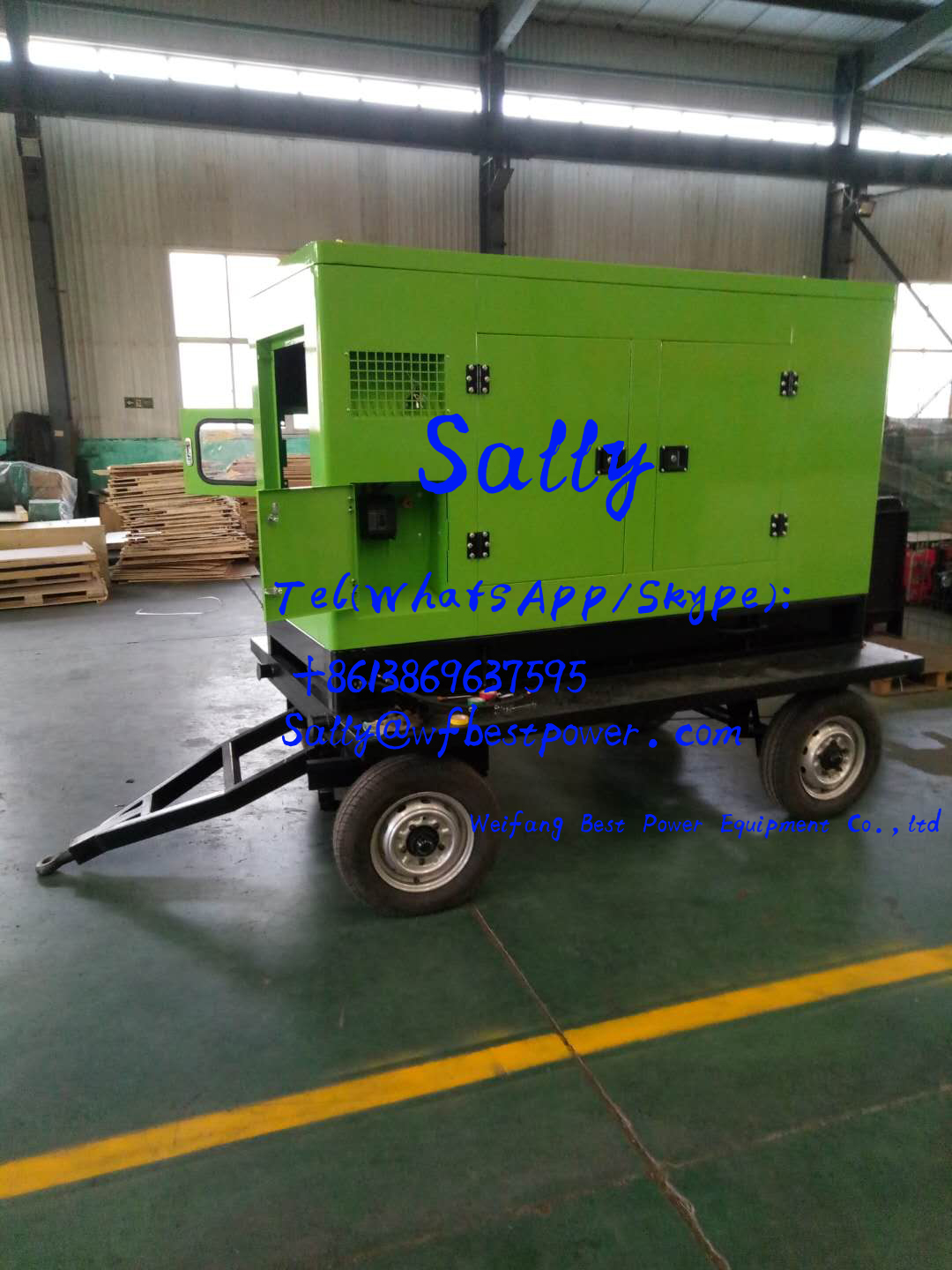 60KW Movable silent type diesel generator set with four wheel trailer