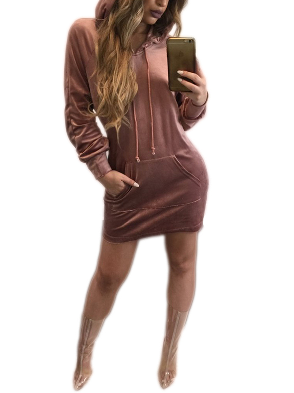 Autumn Fashion Women Solid Long Sleeve Casual Hooded Short Dress WT51917
