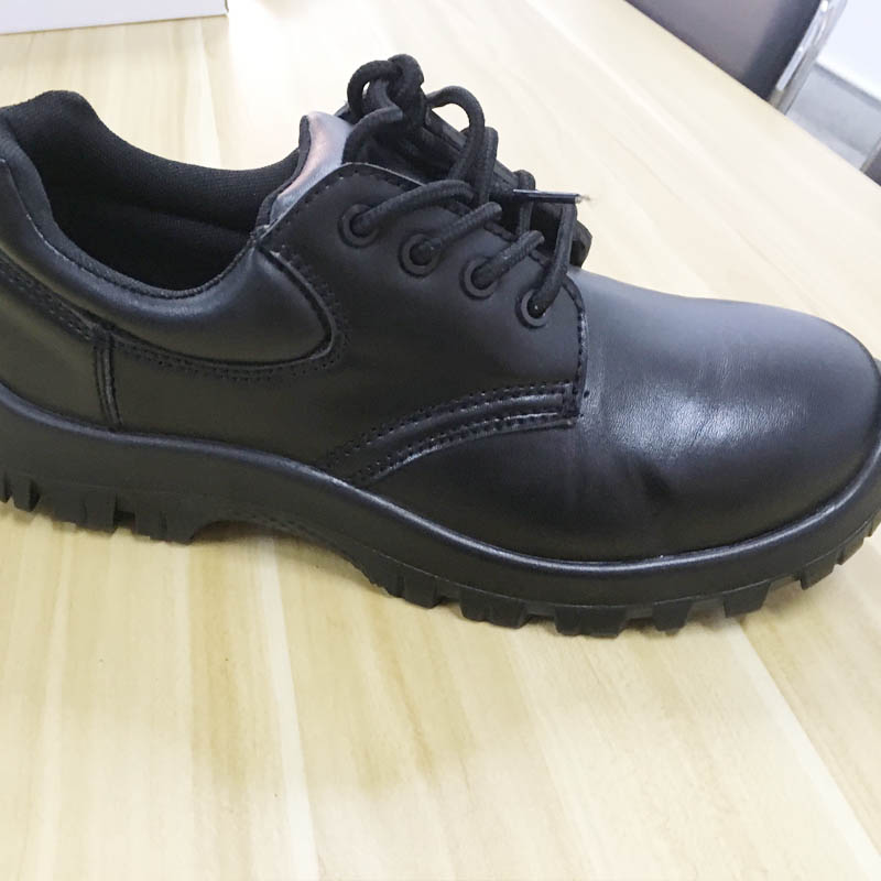 Pure Black Genuine Leather Upper Safety Shoes Steel Toe Cap