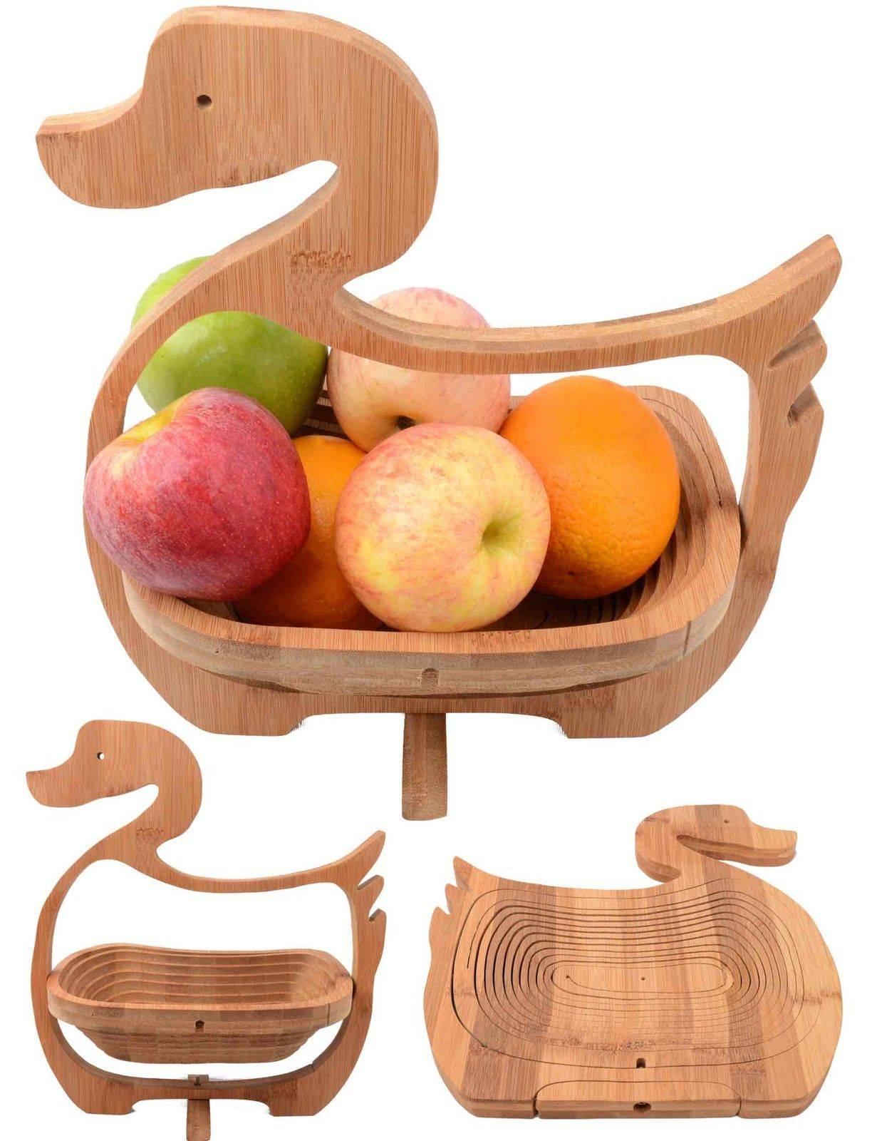 Chinese Gift Craft Duck Spiral Cut Bamboo Basket Wood Hanging Basket Collapsible Fruit Food Basket