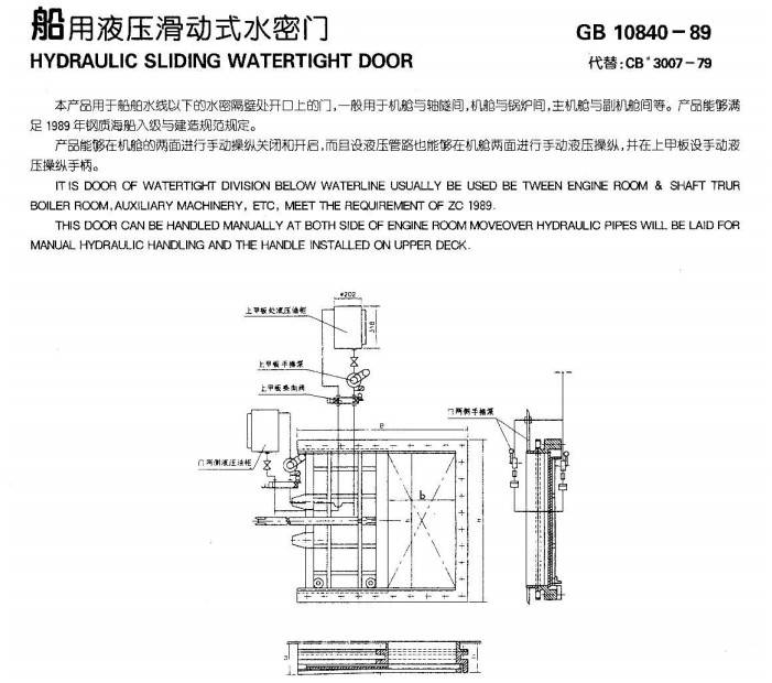 Hydraulic sliding watertight door