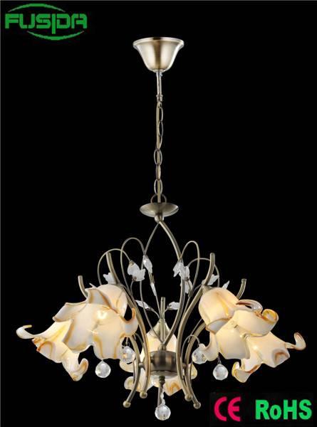 European iron holder White Chandelier Glass Lamp Shade Chandelier Flower shade Light