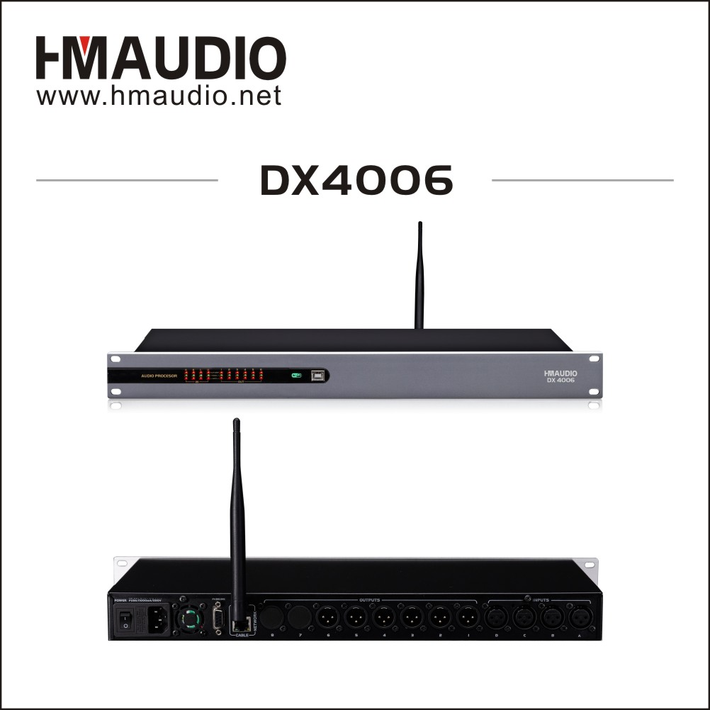 4 in 6 out loudspeaker management with WiFi function use for performances DX4006