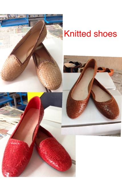 hand knitted ladies mocasin leather shoes