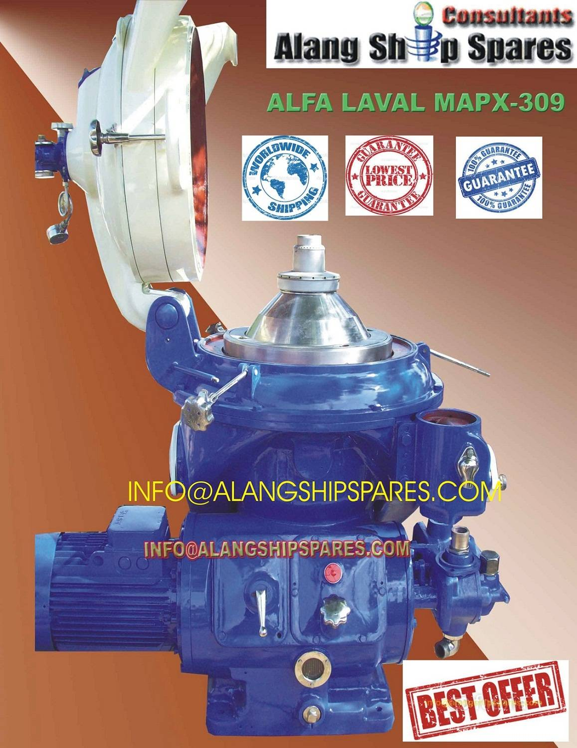 Reconditioned Alfa Laval oil purifier, industrial centrifuge, MAPX-309 BGT
