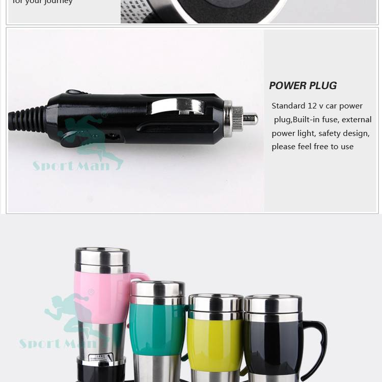 Double Walled 400ml 12V/24V Electric Auto Heated Thermos Travel Mug
