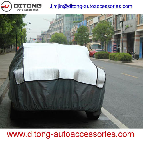 Aluminum film Add EPE and non-woven inflatable car cover against hail and snow