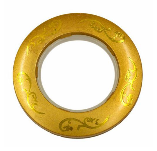 gold color flower pattern PP plastic curtain rings eyelets