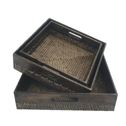 Bamboo Rattan tray 35x35cm