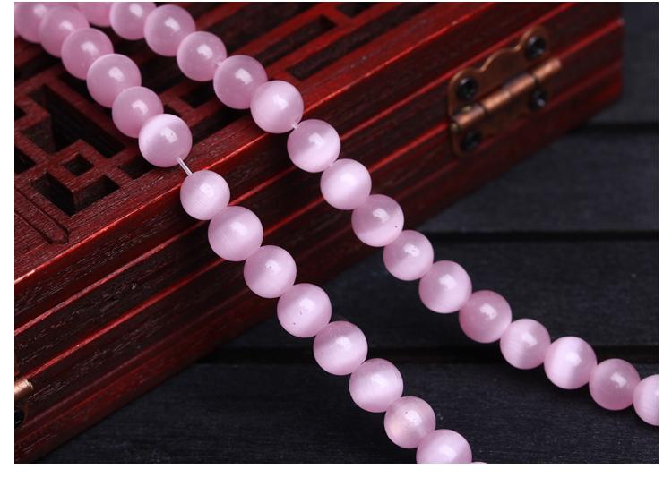 Cat Eye Stone Pink Size 4-12mm Loose Beads Round Bead Strand