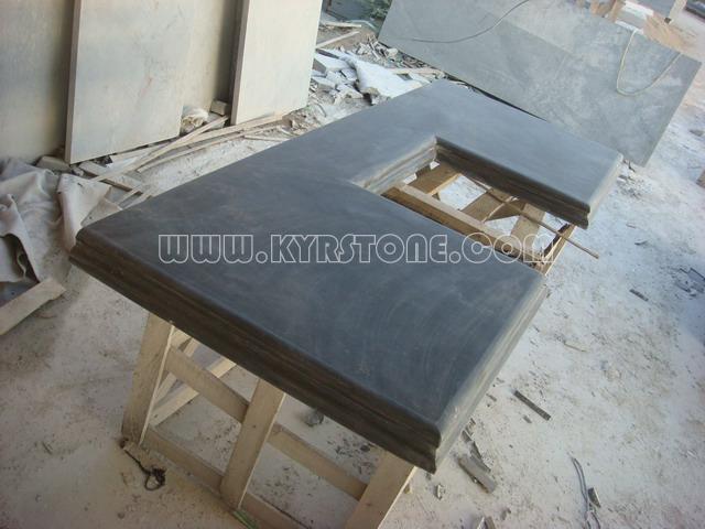 KYRSTONE Honed Black Limestone Blue Limestone for vanity top