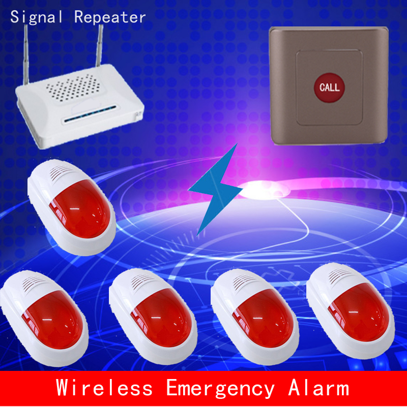 1 button + 5 sound&light alarm,Wireless alarm for security check,wireless emergency call, alarm poli
