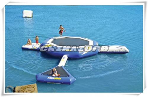 Good quality high elastic inflatable water trampoline for sale