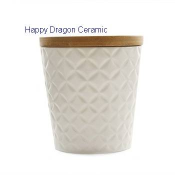 Engraved Ceramic Candle Jars with Bamboo Lid, Ceramic candle cups