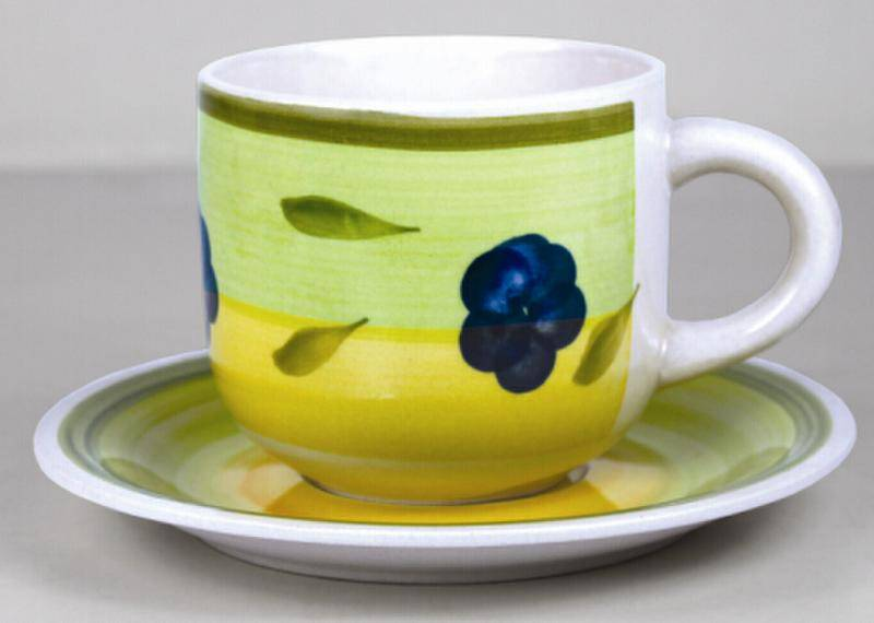 330cc stoneware  handpainted cup&saucer set